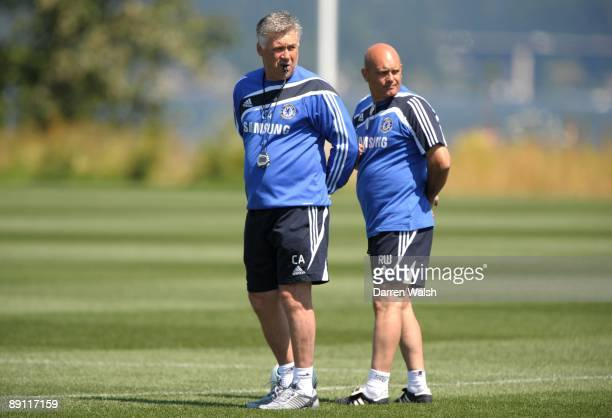 Manager Carlo Ancelotti and assistant manager Ray Wilkins of Chelsea look on during a training session at the Virginia Mason Athletic Center on July...