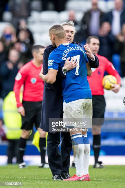 manager Carlo Ancelotti and Richarlison of Everton FC during the Premier League match between Everton FC and Crystal Palace at Goodison Park on...