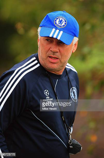 Manager Carlo Ancelotti appears for a Chelsea training session at the Chelsea training ground on September 14 2009 in Cobham Surrey