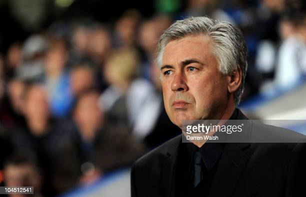 Manager Carlo Ancelotti looks on prior to the UEFA Champions League Group F match between Chelsea FC and Marseille at Stamford Bridge on September...