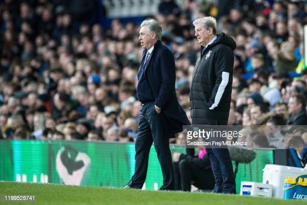 manager Carlo Ancelotti of Everton FC and manager Roy Hodgson of Crystal Palace during the Premier League match between Everton FC and Crystal Palace...