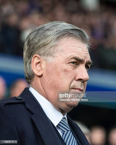 Manager Carlo Ancelotti of Everton FC during the Premier League match between Everton FC and Crystal Palace at Goodison Park on February 8 2020 in...
