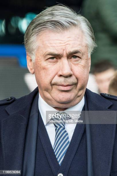 Manager Carlo Ancelotti of Everton FC looks on during the Premier League match between Everton FC and Crystal Palace at Goodison Park on February 8...