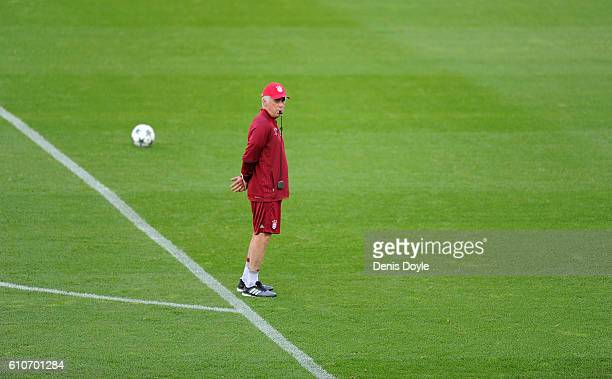 Manager Carlo Ancelotti of FC Bayern Muenchen looks on during a team training session at Vicente Calderon Stadium ahead of the UEFA Champions League...