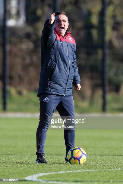 Manager Carlos Carvalhal gives instructions to his players during the Swansea City Training at The Fairwood Training Ground on December 28 2017 in...