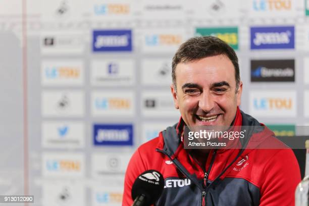 Manager Carlos Carvalhal speaks to members of the press during the Swansea City Training and Press Conference and Press Conference at The Fairwood...