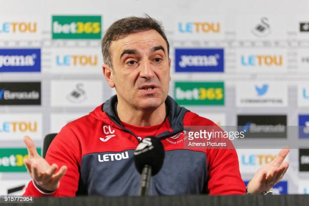 Manager Carlos Carvalhal speaks to members of the press during the Swansea City Training and Press Conference at The Fairwood Training Ground on...