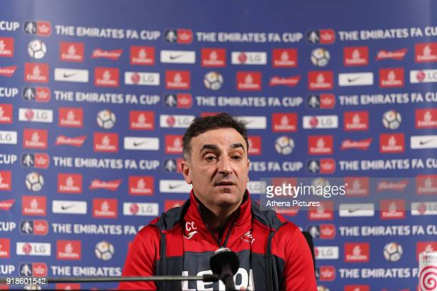 Manager Carlos Carvalhal speaks to members of the press during the Swansea City Training and Press Conference on February 15 2018 in Swansea Wales