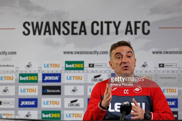 Manager Carlos Carvalhal speaks to reporters during the Swansea City Press Conference at The Fairwood Training Ground on May 11 2018 in Swansea Wales