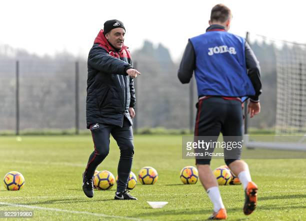 Manager Carlos Carvalhal watches his players train during Swansea City training at The Fairwood Training Ground on February 21 2018 in Swansea Wales
