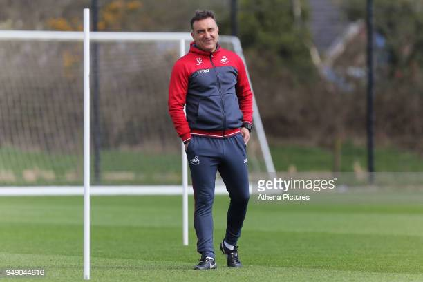 Manager Carlos Carvalhal watches his players train during the Swansea City Training at The Fairwood Training Ground on April 19 2018 in Swansea Wales
