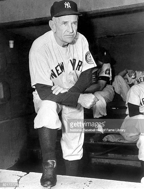 Manager Casey Stengel of the New York Yankees looks out of the dugout during a game Casey Stengel managed the Yankees from 19491960