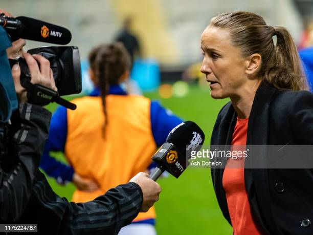 Manager Casey Stoney of Manchester United Women is interviewed after the Barclays FA Women's Super League match between Manchester United and Arsenal...