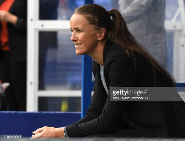 Manager Casey Stoney of Manchester United Women looks on during the Liverpool FC Women v Manchester United Women game at Prenton Park on August 19...