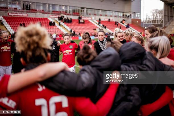 Manager Casey Stoney of Manchester United Women speaks to the team after the Barclays FA Women's Super League match between Manchester United and...
