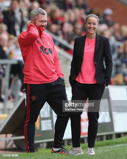 Manager Casey Stoney of Manchester United Women watches from the touchline during the FA Continental Tyres League Cup match between Manchester United...