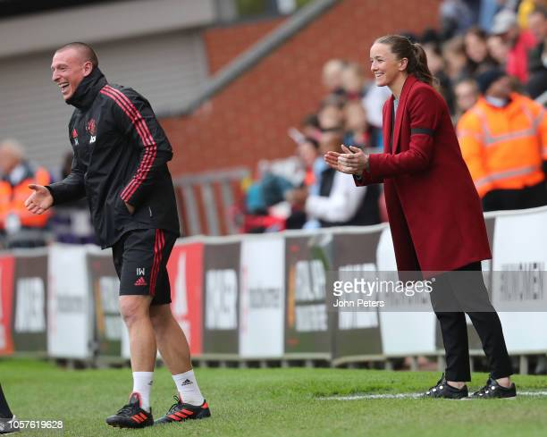 Manager Casey Stoney of Manchester United Women watches from the touchline during the WSL match between Manchester United Women and Tottenham Hotsput...