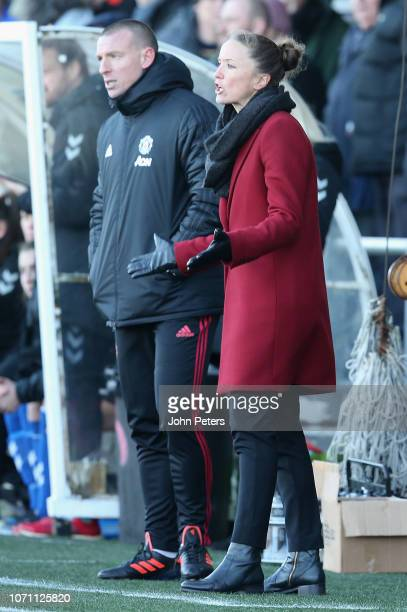 Manager Casey Stoney of Manchester United Women watches from the touchline during the WSL match between Manchester United Women and Durham Women at...