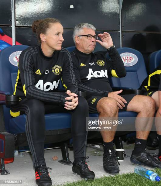 Manager Casey Stoney of Manchester United Women watches from the bench during the preseason friendly match between Valerenga and Manchester United...