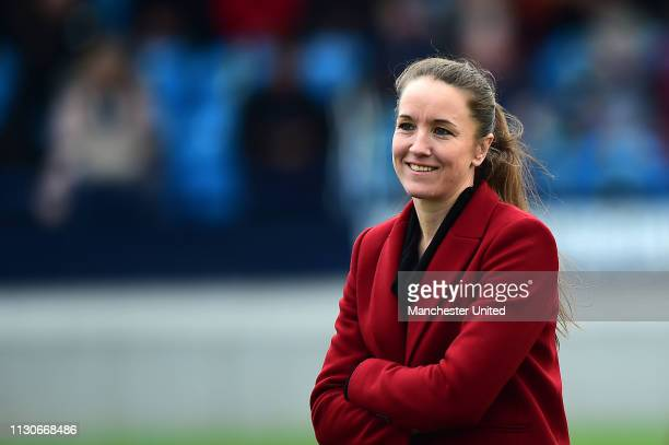 Manager Casey Stoney of Manchester United Women watches the warm up ahead of the SSE Women's FA Cup match between Manchester United Women and London...