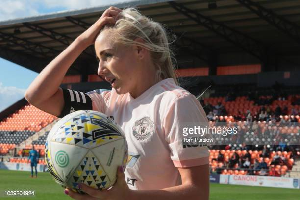 Manager Casey Stoney watches from the dugout during the WSL 2 match between London Bees and Manchester United Women at The Hive on September 23 2018...