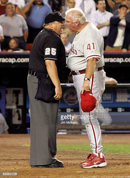 Manager Charlie Manuel of the Philadelphia Phillies argues a call with home plate umpire Fieldin Culbreth during the game against the New York Mets...