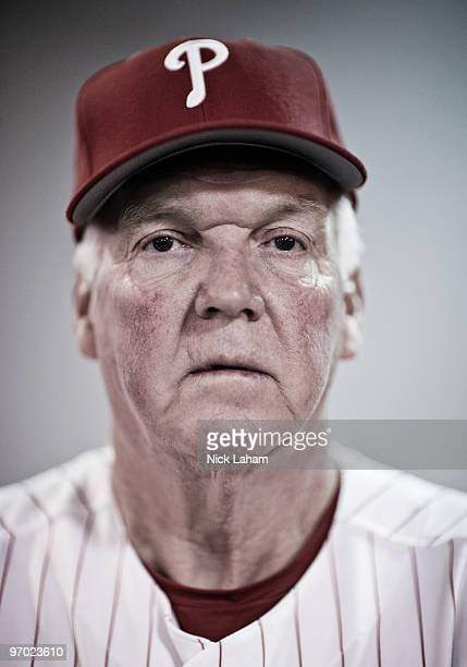 Manager, Charlie Manuel of the Philadelphia Phillies poses for a photo during Spring Training Media Photo Day at Bright House Networks Field on...