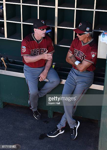 Manager Chip Hale and first base coach Dave McKay of the Arizona Diamondbacks talk prior to the start of a spring training game against the...