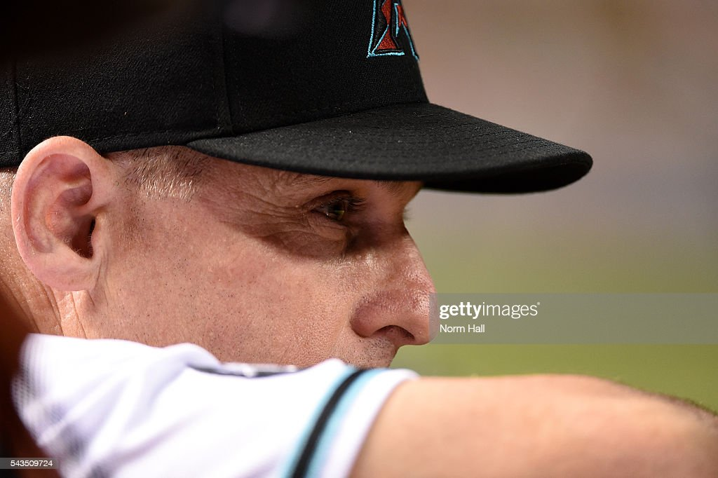 Manager Chip Hale #3 of the Arizona Diamondbacks looks on from the bench during the ninth inning against the Philadelphia Phillies at Chase Field on June 28, 2016 in Phoenix, Arizona. Phillies won 4-3.