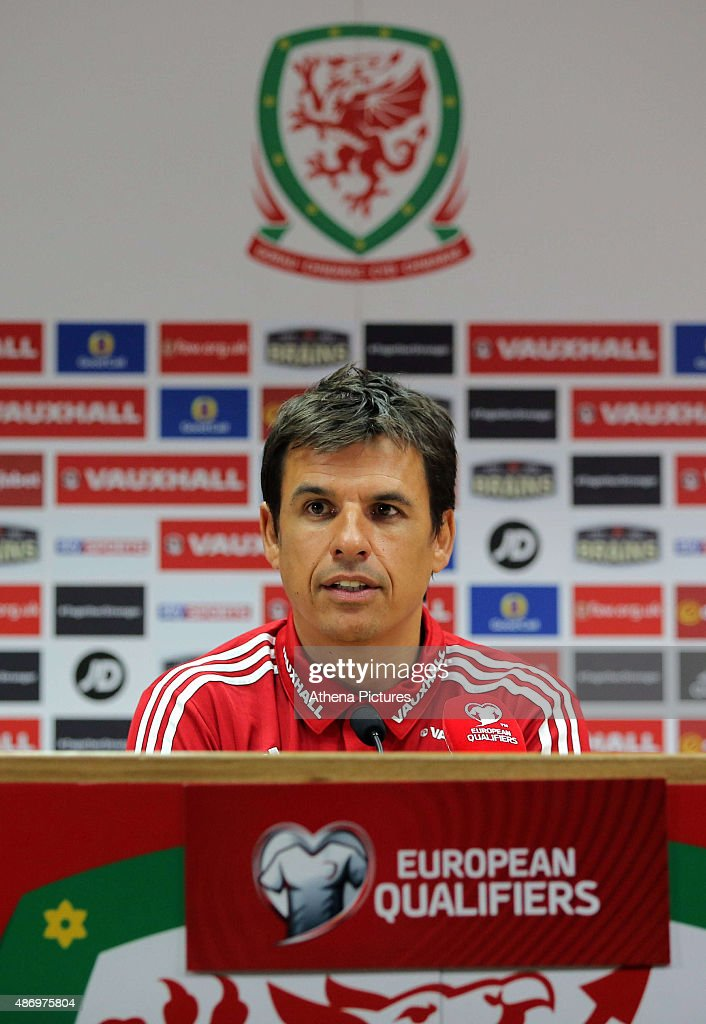 Manager Chris Coleman gives a press conference prior to the Wales training session, ahead of the UEFA Euro 2016 qualifier against Israel, at the Cardiff City Stadium on September 5, 2015 in Cardiff, Wales.
