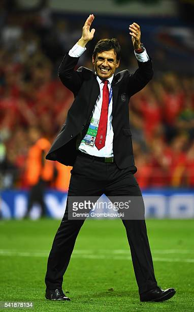 Manager Chris Coleman of Wales celebrates his team's 30 win in the UEFA EURO 2016 Group B match between Russia and Wales at Stadium Municipal on June...