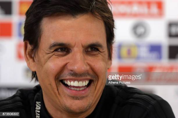 Manager Chris Coleman speaks to reporters during the Wales Press Conference at The Cardiff City Stadium on November 13 2017 in Cardiff Wales