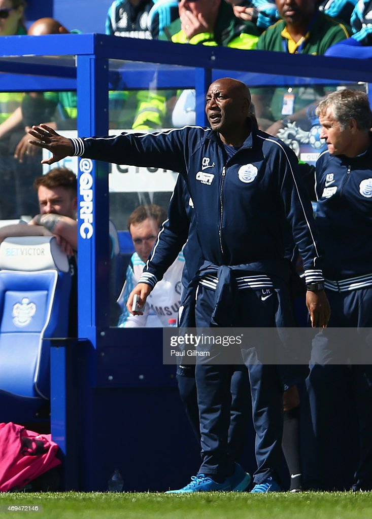 Manager Chris Ramsey of QPR shouts out from the touchline during the Barclays Premier League match between Queens Park Rangers and Chelsea at Loftus Road on April 12, 2015 in London, England.