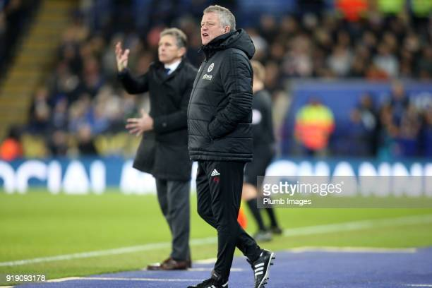 Manager Chris Wilder of Sheffield United during the FA Cup fifth round match between Leicester City and Sheffield United at King Power Stadium on...