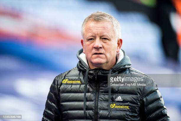 Manager Chris Wilder of Sheffield United looks on during the Premier League match between Crystal Palace and Sheffield United at Selhurst Park on...