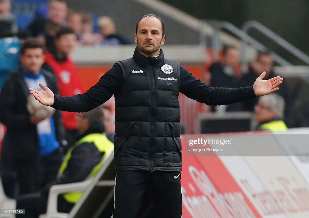 Manager Christian Brand of Rostock gestures during the third league match between MSV Duisburg and Hansa Rostock at Schauinsland-Reisen-Arena on October 22, 2016 in Duisburg, Germany.