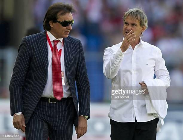 Manager Christian Constantin and coach Laurent Roussey talk during the Swiss Cup final match between Neuchatel Xamax FC and FC Sion at the Sankt...