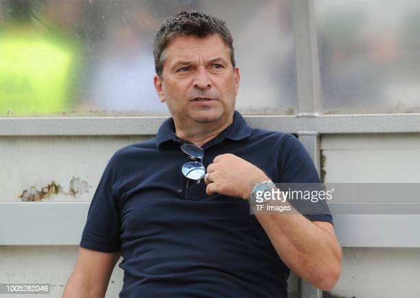 Manager Christian Heidel of Schalke gestures during the Friendly match between Schwarz Weiss Essen and FC Schalke 04 on July 21 2018 in Essen Germany