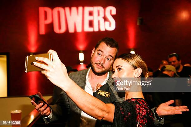 Manager Christopher Burbidge and actress Olesya Rulin attend the Powers Premiere at ArcLight Cinemas on May 26 2016 in Culver City California