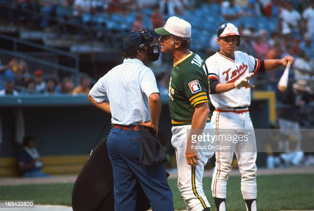Manager Chuck Tanner of the Oakland Athletics argues with the homeplate umpire during an Major League Baseball game against the Minnesota Twins circa...