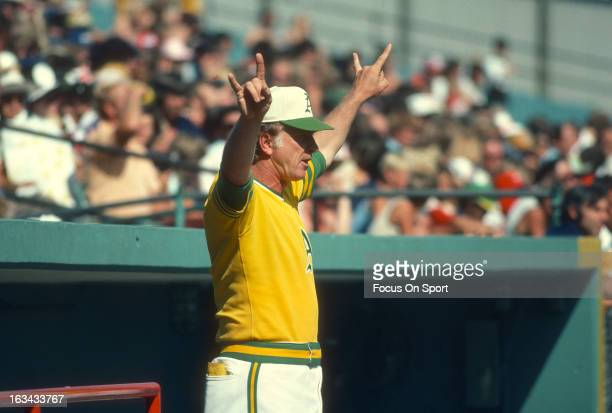 Manager Chuck Tanner of the Oakland Athletics looks on from in front of the dugout during an Major League Baseball game against the Minnesota Twins...
