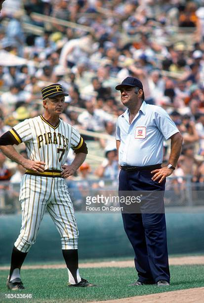 Manager Chuck Tanner of the Pittsburgh Pirates argues with an umpire during an Major League Baseball game circa 1977 Tanner managed for the Pirates...