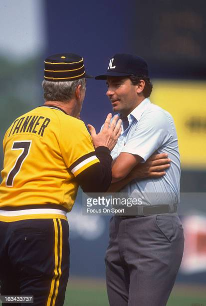 Manager Chuck Tanner of the Pittsburgh Pirates argues with an umpire during a Major League Baseball game against the New York Mets circa 1983 at Shea...
