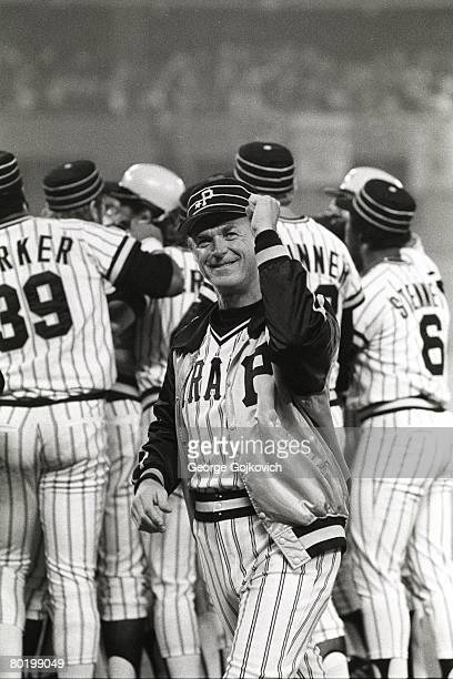 Manager Chuck Tanner of the Pittsburgh Pirates celebrates after a victory at Three Rivers Stadium circa 1979 in Pittsburgh Pennsylvania