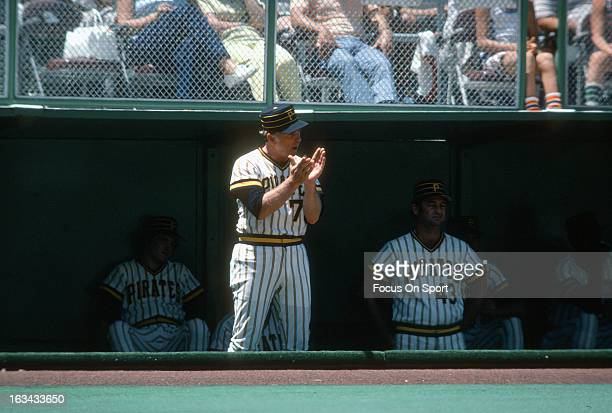 Manager Chuck Tanner of the Pittsburgh Pirates looks on from the dugout during an Major League Baseball game circa 1977 at Three Rivers Stadium in...