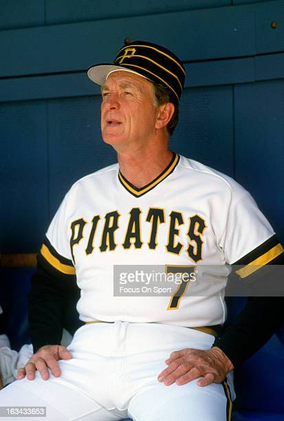 Manager Chuck Tanner of the Pittsburgh Pirates looks on from the dugout during an Major League Baseball game circa 1981 at Three Rivers Stadium in...