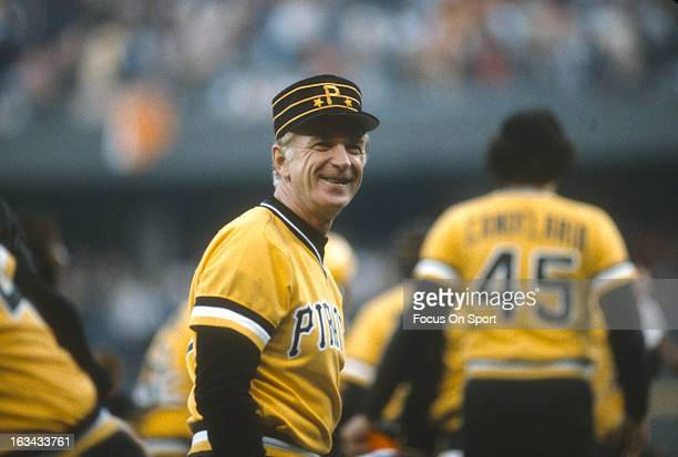 Manager Chuck Tanner of the Pittsburgh Pirates looks on smiling during an Major League Baseball game circa 1983 Tanner managed for the Pirates from...