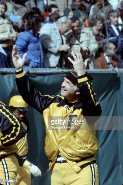 Manager Chuck Tanner of the Pittsburgh Pirates responds to cheers from the fans during a 1979 World Series game against the Baltimore Orioles at...