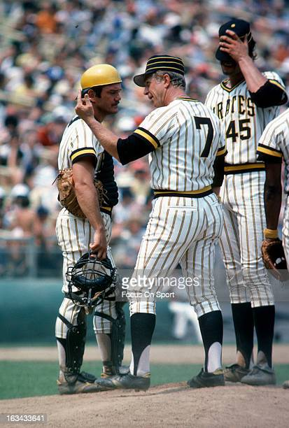 Manager Chuck Tanner of the Pittsburgh Pirates stands on the pitchers mound and calls out the homeplate umpire during a Major League Baseball game...