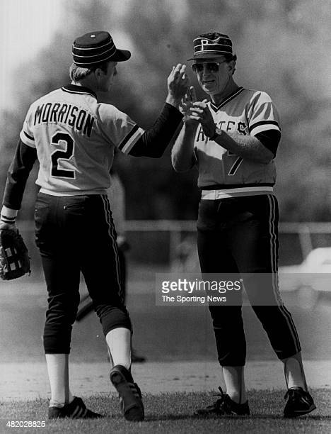 Manager Chuck Tanner of the Pittsburgh Pirates talks with a player circa 1970s